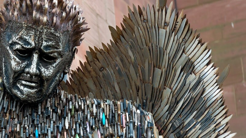 Knife Angel at Liverpool Cathedral
